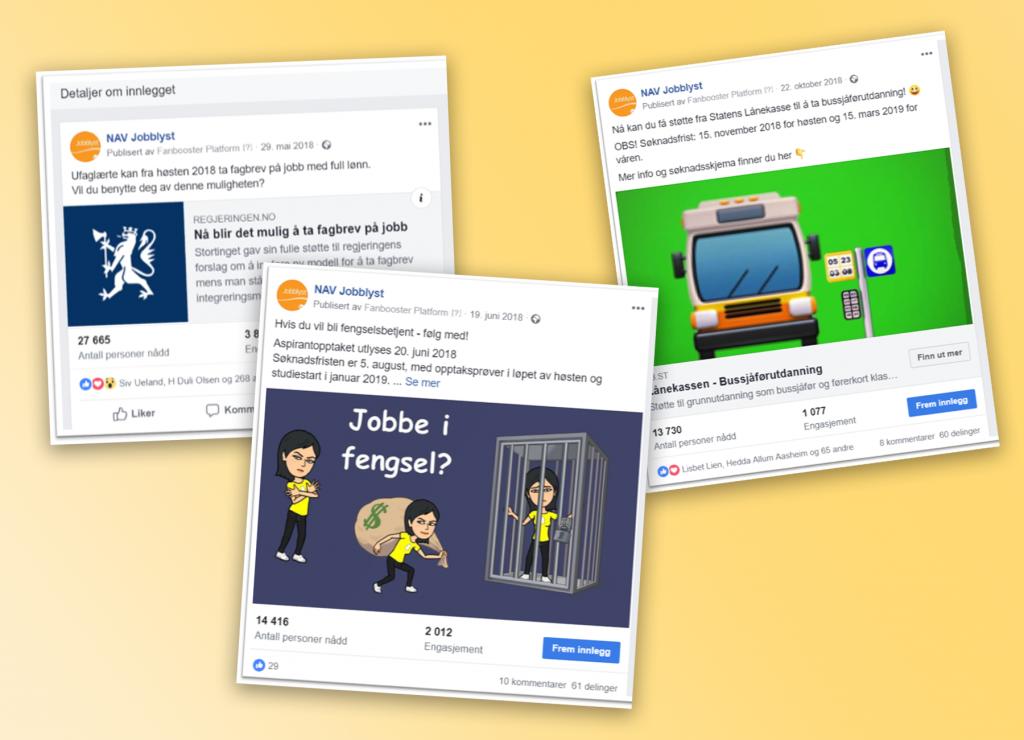 Flere skjermdumper av innlegg fra NAV Jobblyst på Facebook