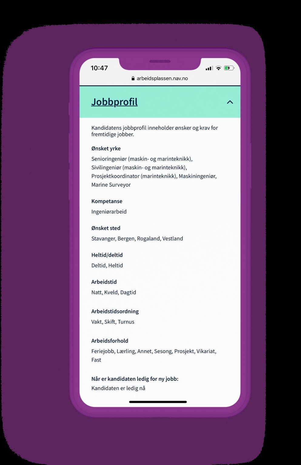 Illustrasjon av hvordan jobbprofilen ser ut på telefon.