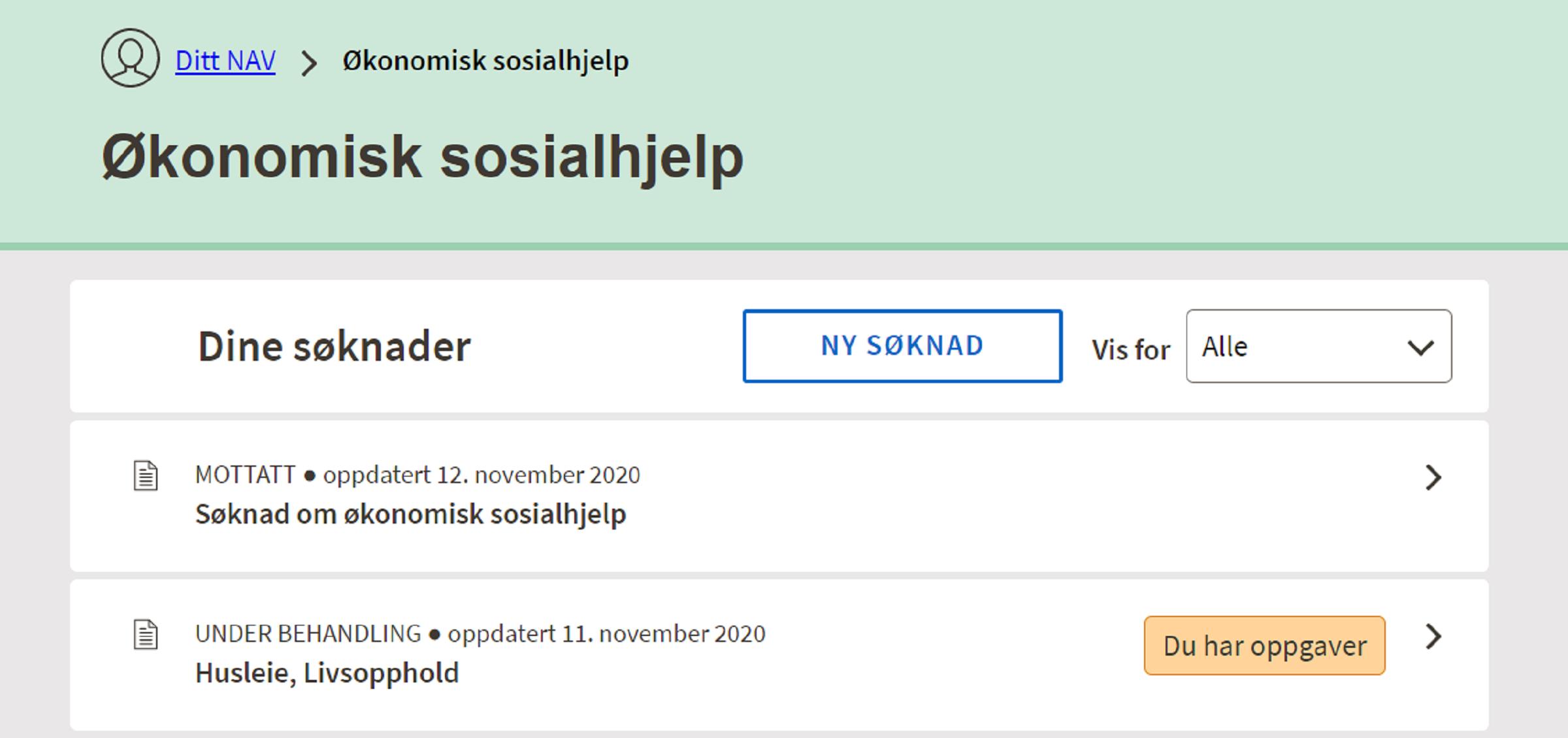 Skjermdump av siden som viser oversikten over en person sine digitale søknader om sosialhjelp som er til behandling