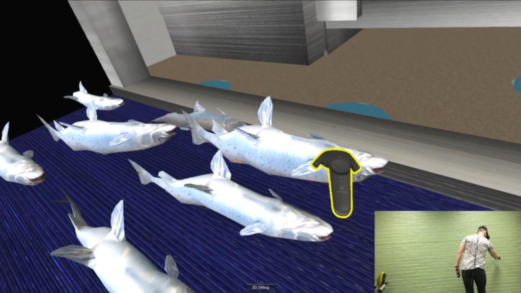 VIRTUELL FISK: Når kontrolleren lyser gult, har man fått fatt i fisken man ønsker å løfte vekk fra samlebåndet. Foto: NTNU