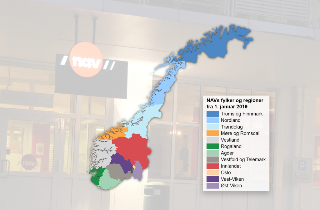 FYLKER OG REGIONER: Neste år blir det ti fylker og to regioner i NAV.