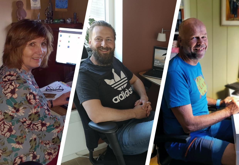 TRIVES: Aud Solveig Pedersen, Ulrik Sorte og Morten Sandbakken trives med å jobbe hjemmefra, men savner kolleger og gleder seg til en mer normal arbeidshverdag.