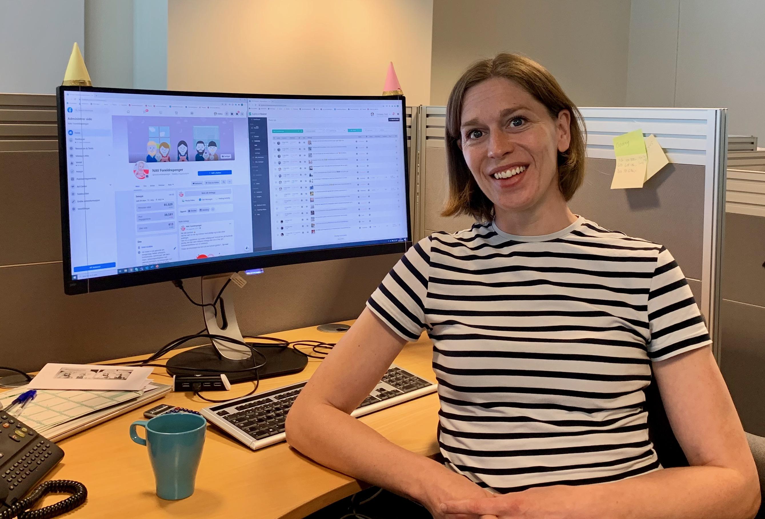 DOBBELT TRYKK UNDER KORONA: Sammen med redaksjonen opplevde Oddny Flem en dobling av henvendelser til Facebook-sidene NAV Foreldrepenger og NAV Jobblyst.